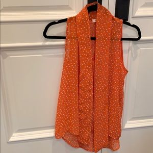 Everly orange printed top with tie size S